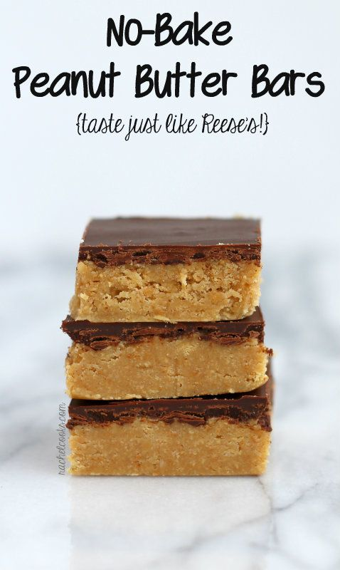 No Bake Peanut Butter Bars {just like Reese's!}