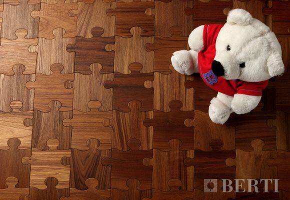 Beautiful parquet wood puzzle floor for children's (play)rooms by Berti