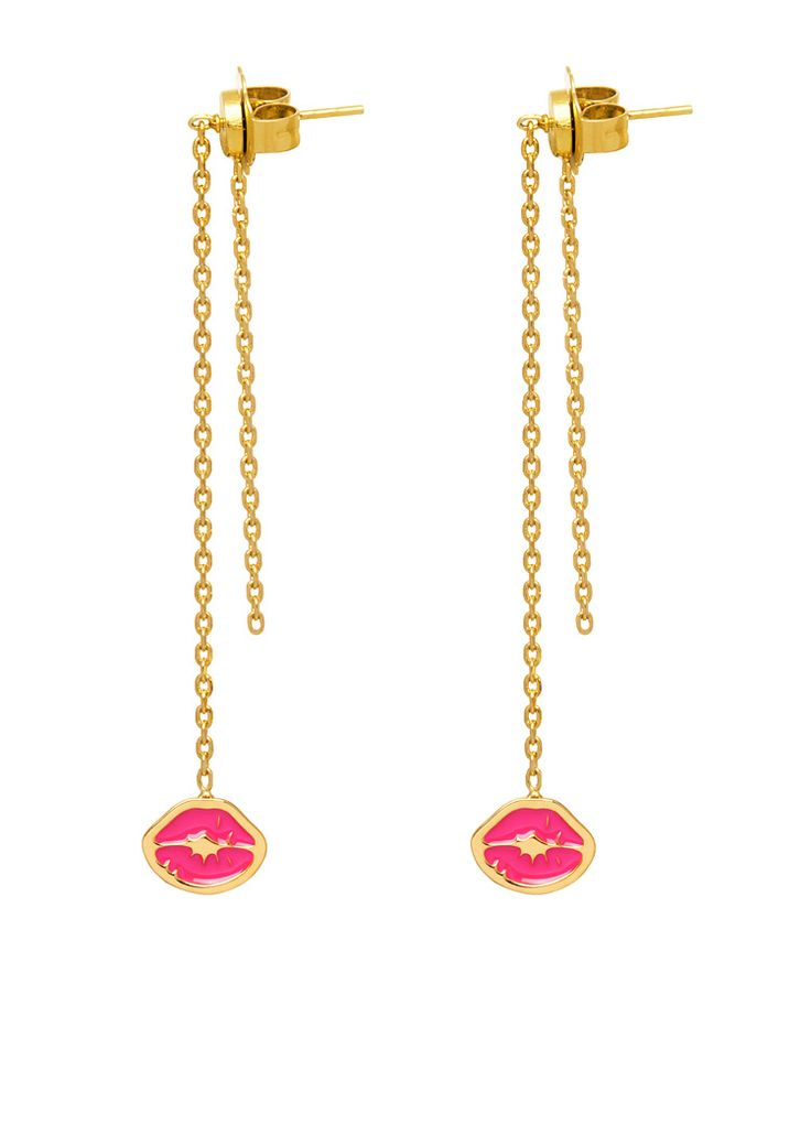 """'Punk Kiss' drop chain earrings: a pair of drop earrings with dangling chains and signature """"kiss stamp"""" charms. Butterfly closure and chain pendant at the back."""