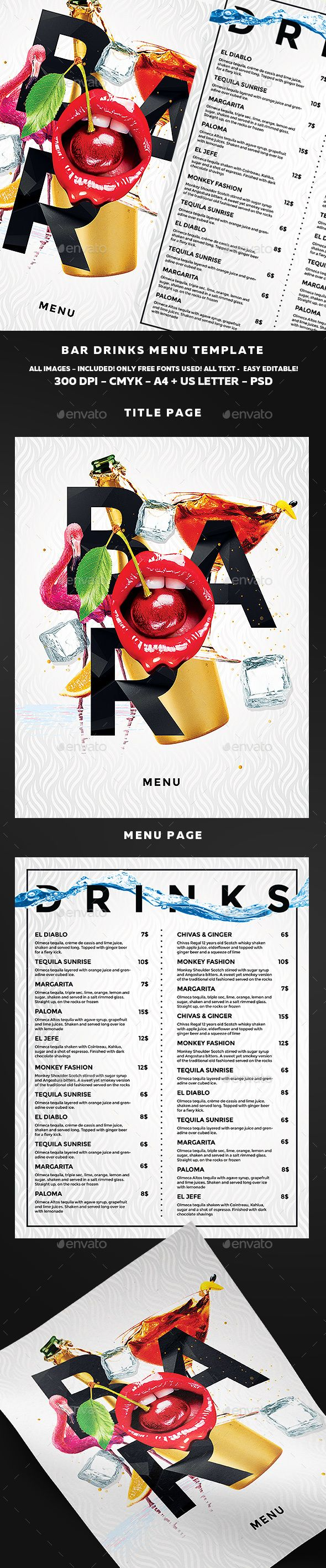 Drinks Menu Template PSD. Download here: https://graphicriver.net/item/drinks-menu-template/16929021?ref=ksioks