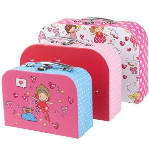 Set 3 MINI SUITCASES Childrens STORAGE BOXES Pink Candy