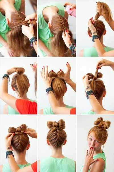 french braid and bow bun ...adorbbs !!!!!