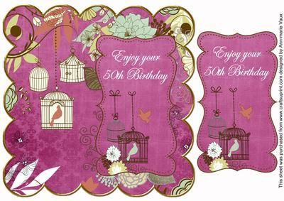 Cerise Birdcage 50th Birthday 8in Scallop Topper on Craftsuprint - Add To Basket!