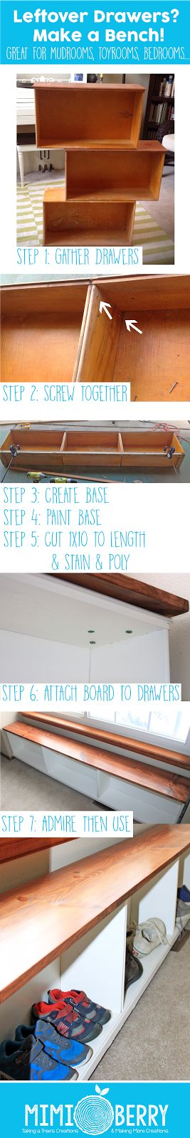 Don't throw away those extra drawers you have laying around, turn them into a bench! Great for mudroom benches, or for a kid's bedroom or playroom. Simple, cheap, and easy! Or if you have a dresser that has seen better days, you can use some of the drawers for the bench, and the structure of the dresser to make a dress up station. Two great projects from one dresser!