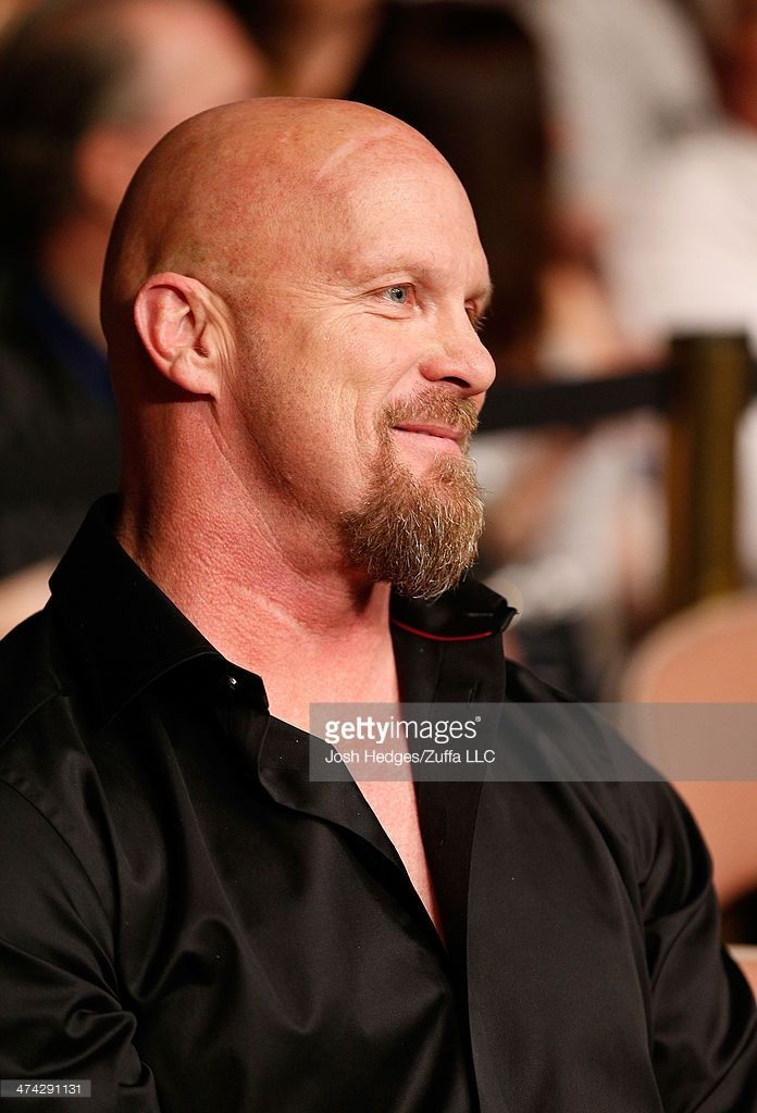 Professional wrestler 'Stone Cold' Steven Austin in attendance during UFC 170 inside the Mandalay Bay Events Center on February 22, 2014 in Las Vegas, Nevada.