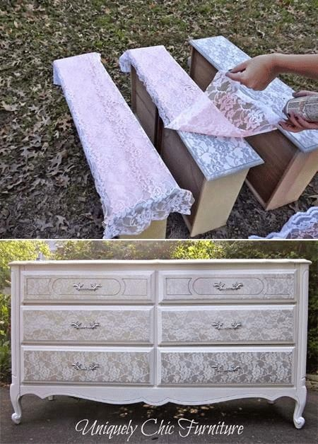 Painting furniture with lace: