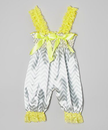 Silver & Chartreuse Chevron Bow Romper - Infant #zulily #zulilyfinds