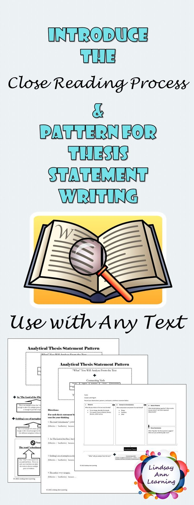 FREE RESOURCE!  Teach textual analysis with confidence! Your students will learn a successful pattern for thesis statement writing and close reading analysis with these time-tested resources.