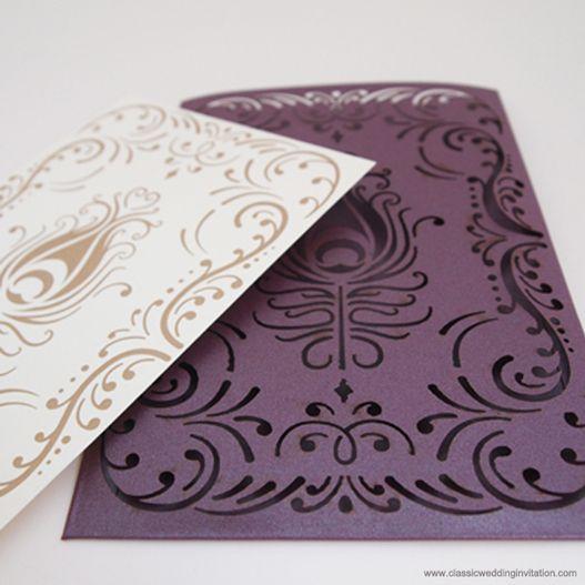 Wedding invitation with peacock laser cut design