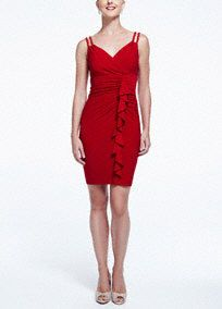 Sleeveless Jersey Dress with Ruffle Detail, Style S267700 #davidsbridal #cocktaildress #redweddingsCocktaildress Redwedding, Details Helpful, Features Chic, Bodice Features, Chic Double, Bridesmaid Dresses, Jersey, Davidsbridal Cocktaildress, Double Braids