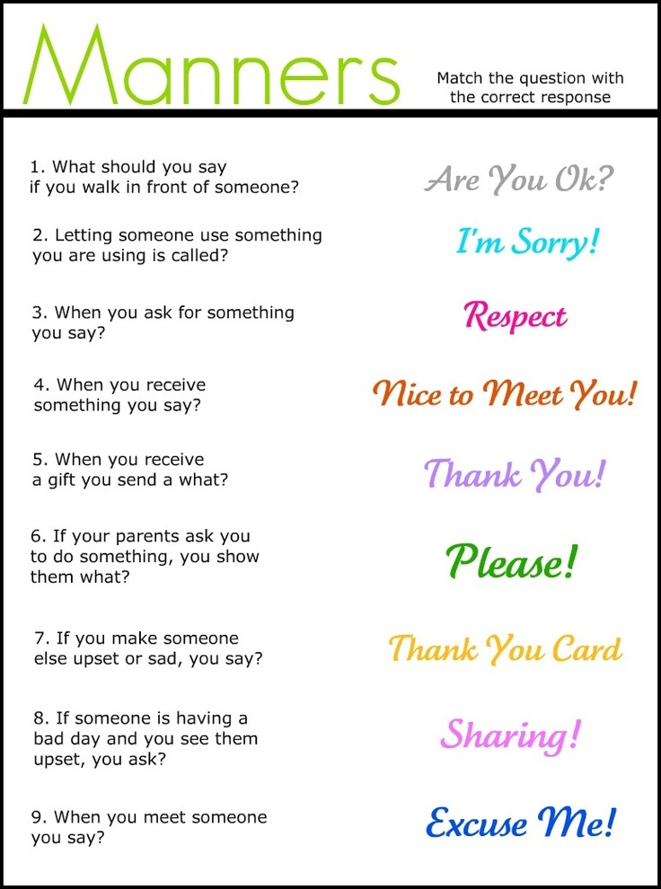 Manners Quiz For Young Children