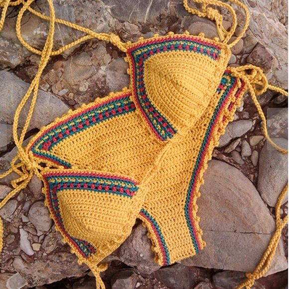 Yellow crochet bikini knit rasta Brand new! Fits fixes SM and MD best! But straps adjustable to all sizes  ❗️brand put for search purposes Nasty Gal Swim Bikinis