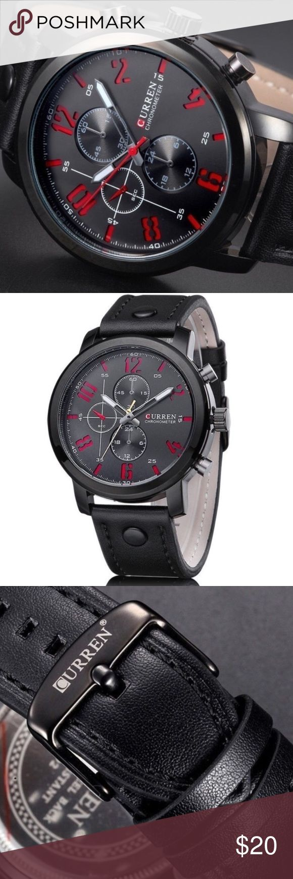 ⚜️Black & Red Watch⚜️ One of my favorites!  Black with red numbering, and soft, thick leather belt.  Additional dials and buttons are for aesthetics, nevertheless, a great looking watch. Accessories Watches