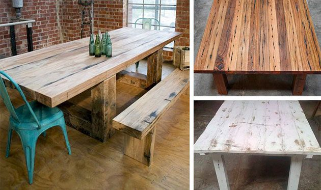 Custom made tables from recycled timber. Mulbury, Melbourne.