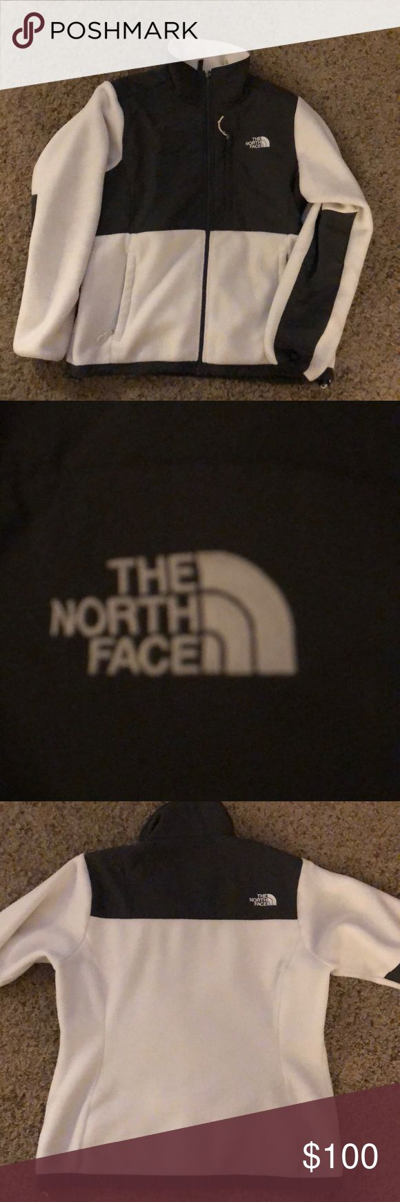 The North Face Denali Jacket The North Face Denali Ladies Jacket Size: Large Color: White & Grey Has been worn and washed, one small flaw on sleeve (see photo compared to a penny to show size) The North Face Jackets & Coats