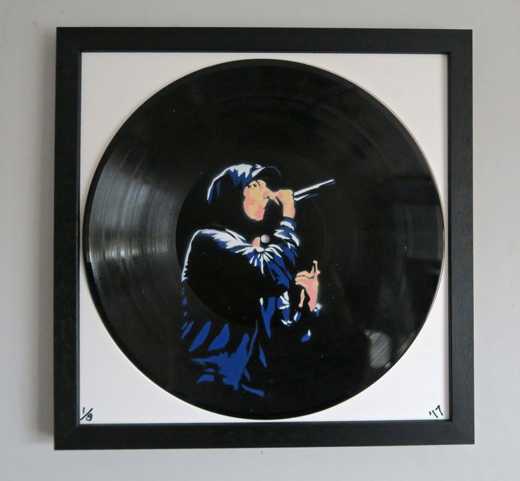 #EM001VY Price£210.00 By Anna Jaxe     Spray Paint through Layered Stencil on Vinyl Record  Measurement : 35 x 35cm  Limited Edition: 5  Signed ,Numbered & Framed  2017