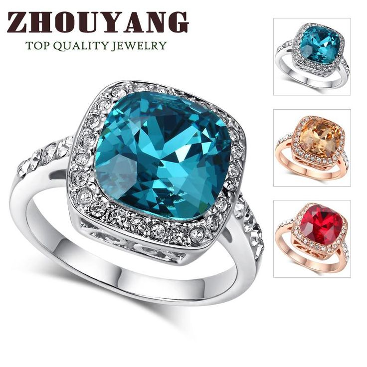 ITALINA Blue Crystal Silver Color Cocktail Ring Fashion Party Jewelry For Women Wholesale R321 R056 R058