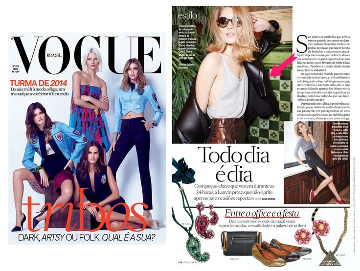 VOGUE BRAZIL April Issue has featured the essential piece of CRES. E DIM. FW 14 collection in their photoshoots.