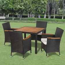 9 pcs Black PE Wicker Rattan Outdoor Furniture Dining Set Table Chair Garden