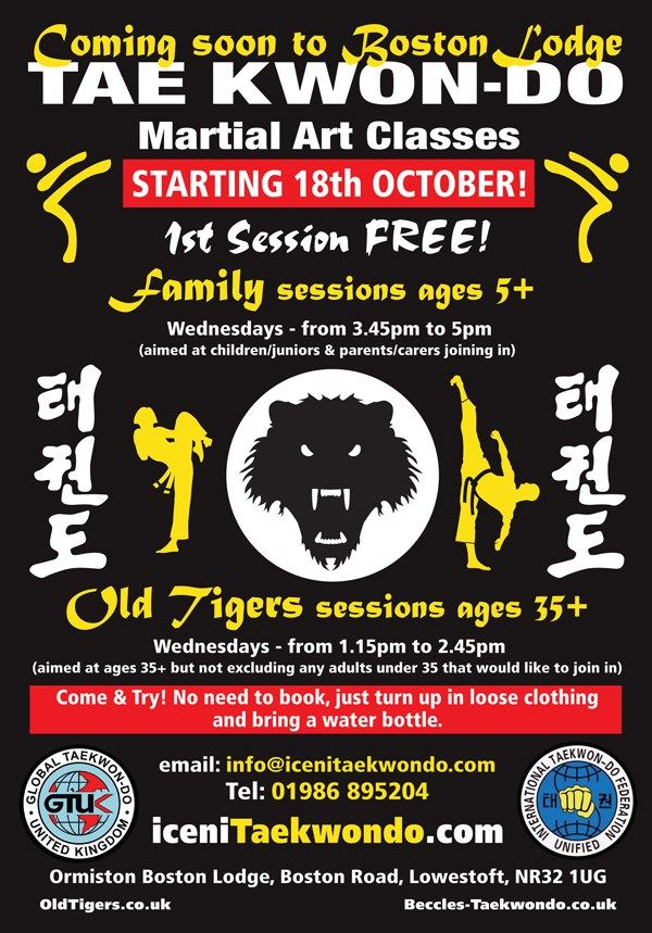 STARTING Wed 18 Oct: Iceni #Taekwondo Classes on Wednesdays, Ormiston Boston Lodge, #Lowestoft