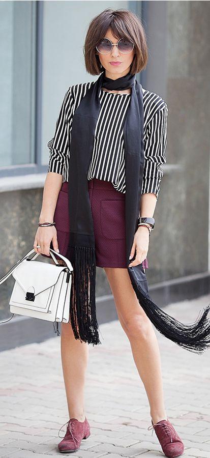 mango striped top | H&M burgundy cardigan | by Malene Birger Fringed silk scarf | burgundy outfit ideas | marsala outfit ideas | street style | ootd | ellena galant girl |