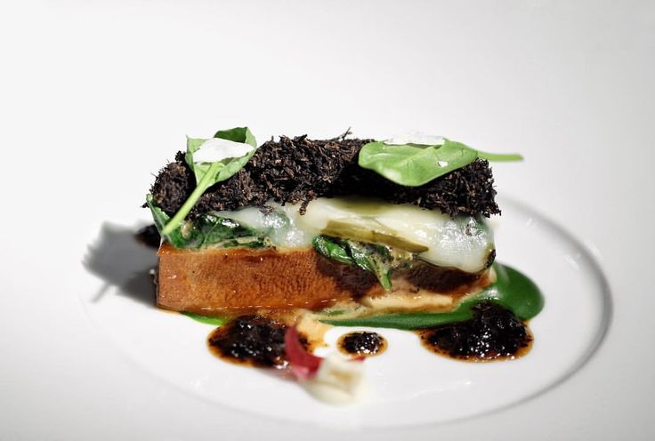 """Veal tongue raclette, spinach and lots of fresh black truffle  """"4-Hands-Dinner: Jan Hartwig (Atelier **) with Sven Elverfeld (Aqua ***) - SE: Veal tongue raclette,…"""""""