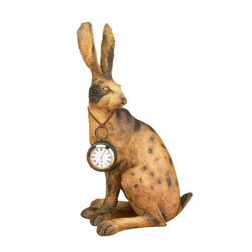 Expo Decor Rabbit Statue With Pocket Watch Clock