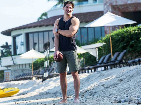 Joe Manganiello, known for his acting work in Spiderman, checking out the turtles while on vacation in Mexico with his family and girlfriend.