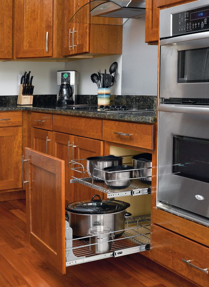 A great solution for all your pots and pans is this two-tier Chrome Wire Basket pull-out.
