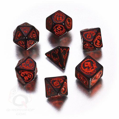 Black-red Dragon RPG dice