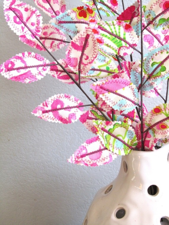 Fabric branches,: Scrap Material, Wedding Ideas, Book Pages, Flowers Fabrics Lac