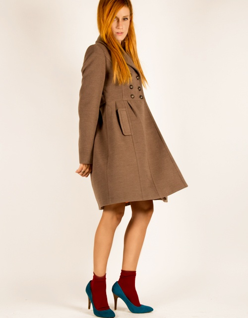 Coat with double breasted front, military-style buttons, flared skirt shape and pockets to the hips. #fashion #womensfashion #coat #militarystyle #toimoi #toimoifashion
