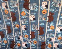 Édredon de bébé Woodland, couette animaux forêt, ours édredon, chouette quilt, miel ours édredon, couette bleu, courtepointe grise, peach quilt, courtepointe de l'arbre