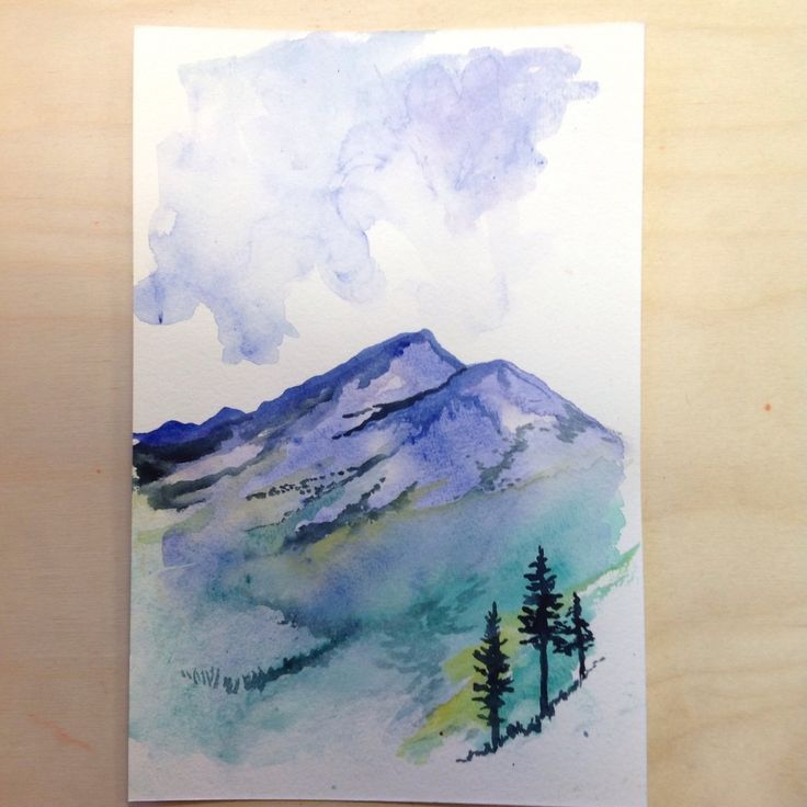 alpine fields and mountain range watercolor