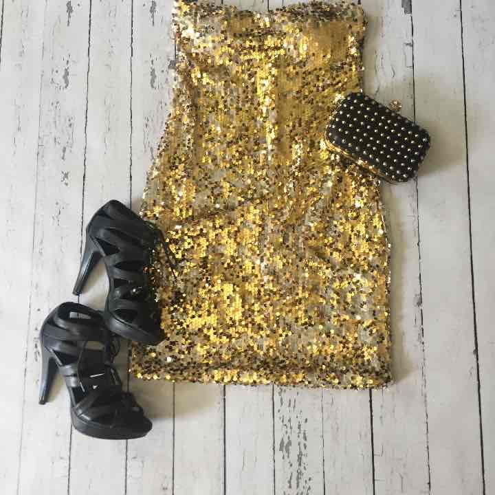 Gold & Silver Sequin Mini Dress - Mercari: Anyone can buy & sell