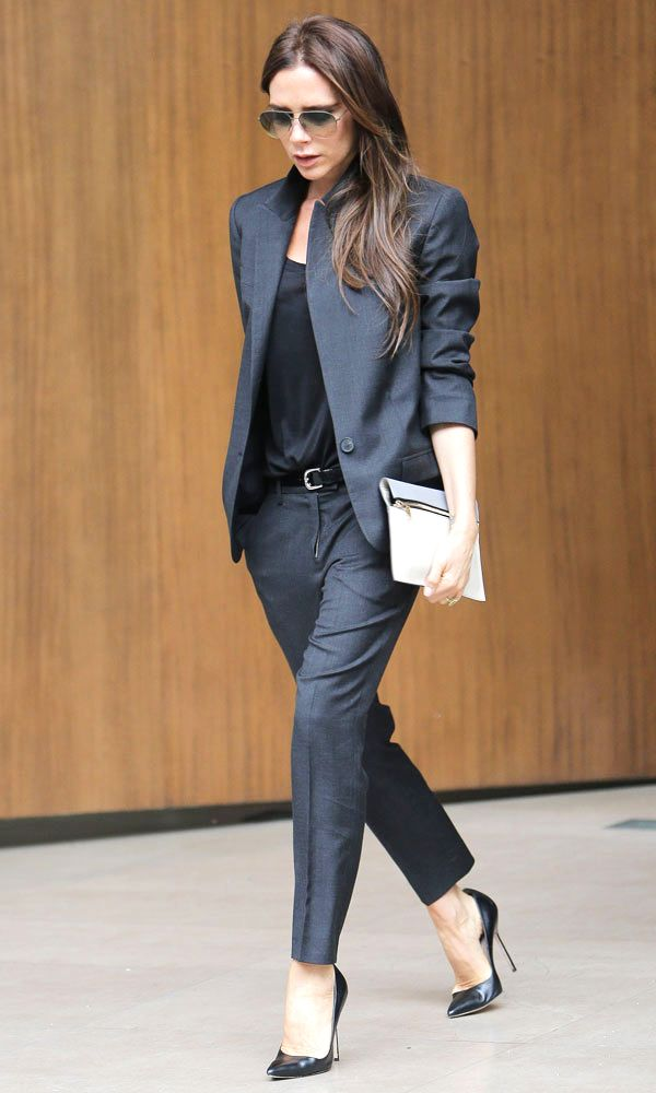 Victoria Beckham in black Suit.