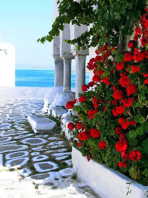 Side view of Agios Kostantinos church. Parikia, Paros island, Cyclades, Greece
