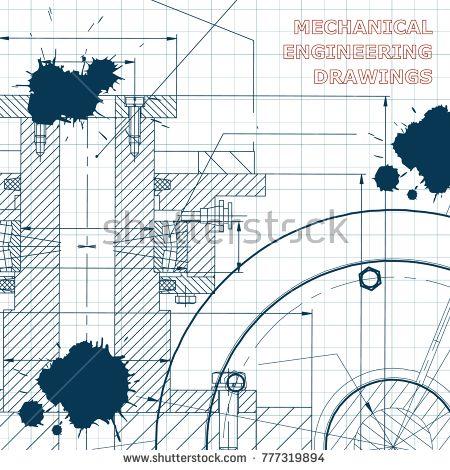 Backgrounds of engineering subjects. Technical illustration. Mechanical engineering. Technical design. Instrument making. Cover, banner. Draft. Ink. Blots #bubushonok #art #bubushonokart #design #vector #shutterstock #technical #engineering #drawing #blueprint  #technology #mechanism #draw #industry #construction #cad