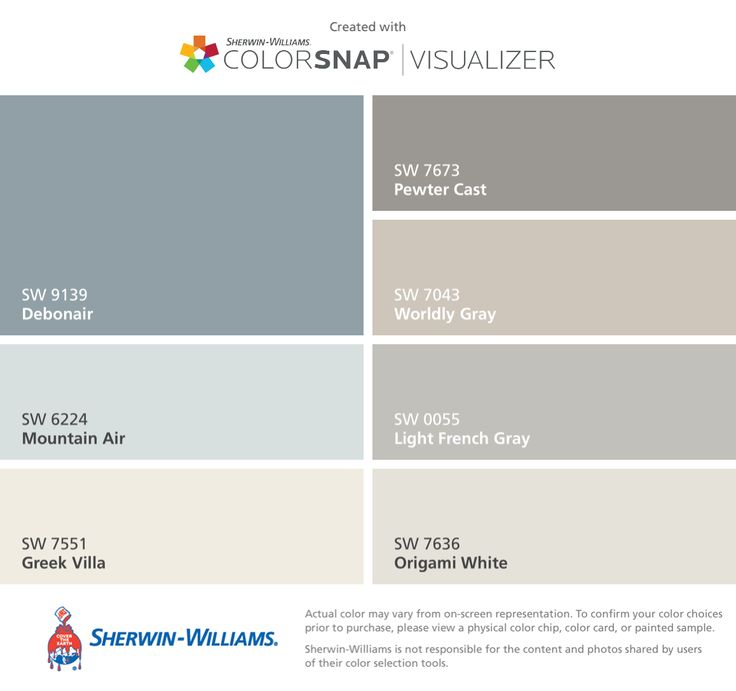 I found these colors with ColorSnap® Visualizer for iPhone by Sherwin-Williams: Debonair (SW 9139), Mountain Air (SW 6224), Greek Villa (SW 7551), Pewter Cast (SW 7673), Worldly Gray (SW 7043), Light French Gray (SW 0055), Origami White (SW 7636).