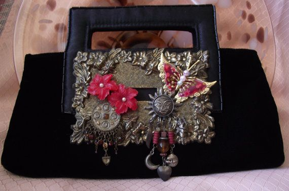 Black Velvet and Satin wearable art purse by IfPiratesWorePurses,