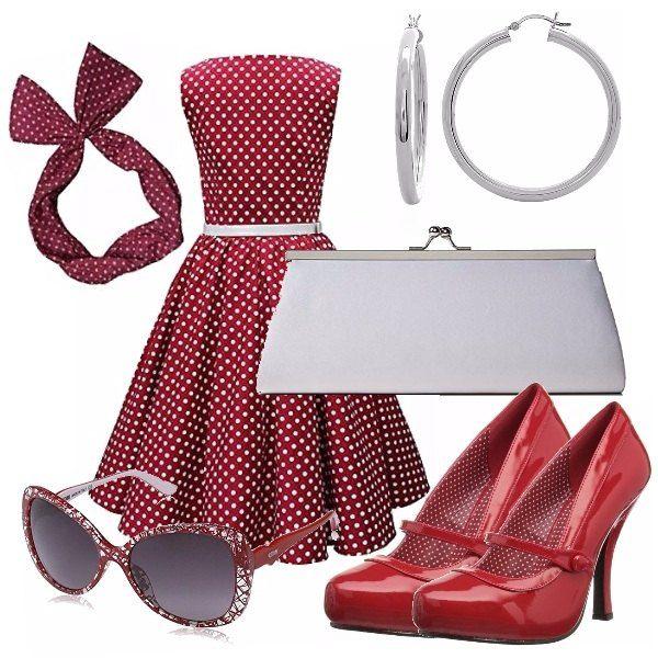 Pronte per un tuffo negli anni 50?? Vi proponiamo questo delizioso abitino con fascetta abbinata, scarpette rosse e pochette bianca. Perfette per una serata a tema!