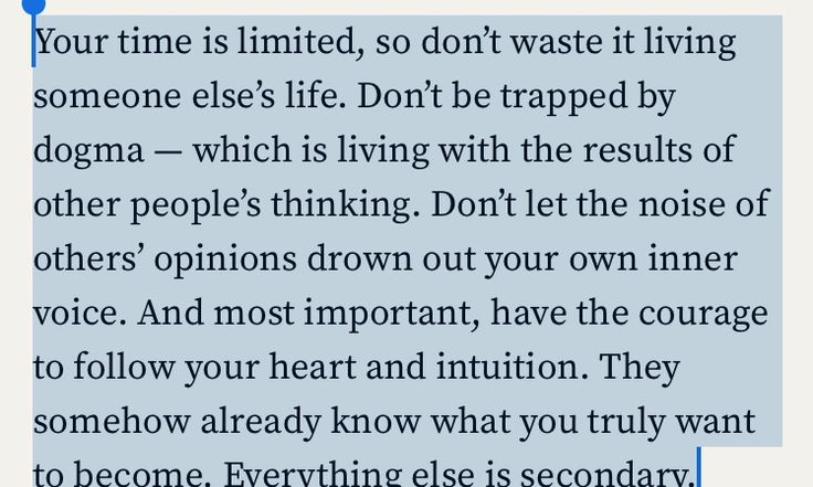 Great quote from Steve Jobs' Stanford commencement speech