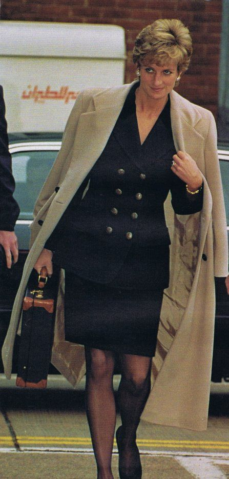 Diana, Princess of Wales 1995 Navy  double breasted suit and wool trench coat