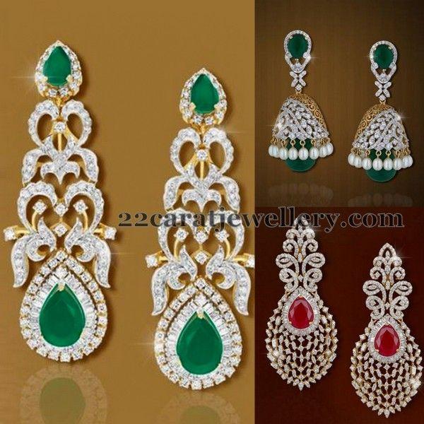 Diamond Trendy Earrings by Shobha | Jewellery Designs