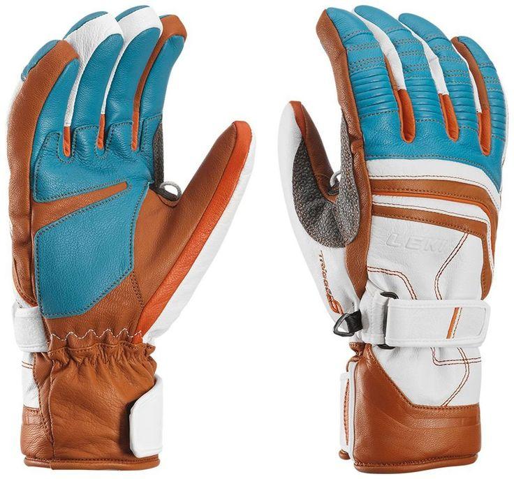 LEKI Fuse Retro S Ski Glove - Cyan/White/Tan Large