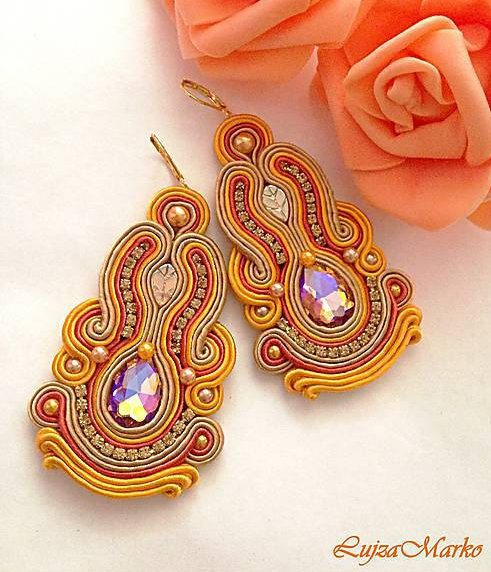 Soutache orange&sand long earrings