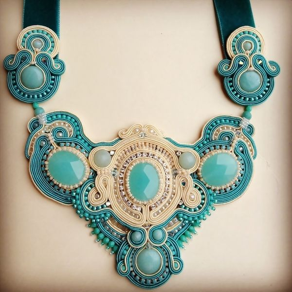 Turquoise and ivory soutache necklace with natural amazonite and jade
