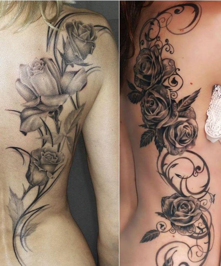 Großes Rosenranke Tattoo am Rücken