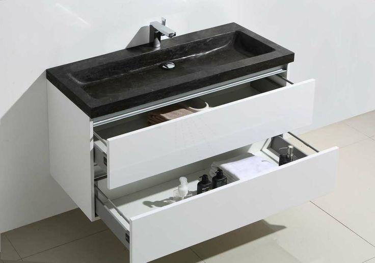 € 949,- Lambini Designs Trend stone badkamermeubel - Hoogglans wit - natuursteen - 1 kraangat - 55cm (H) - 100cm (B) - 47cm (D) #badkamer #inspiratie #meubel #trendy