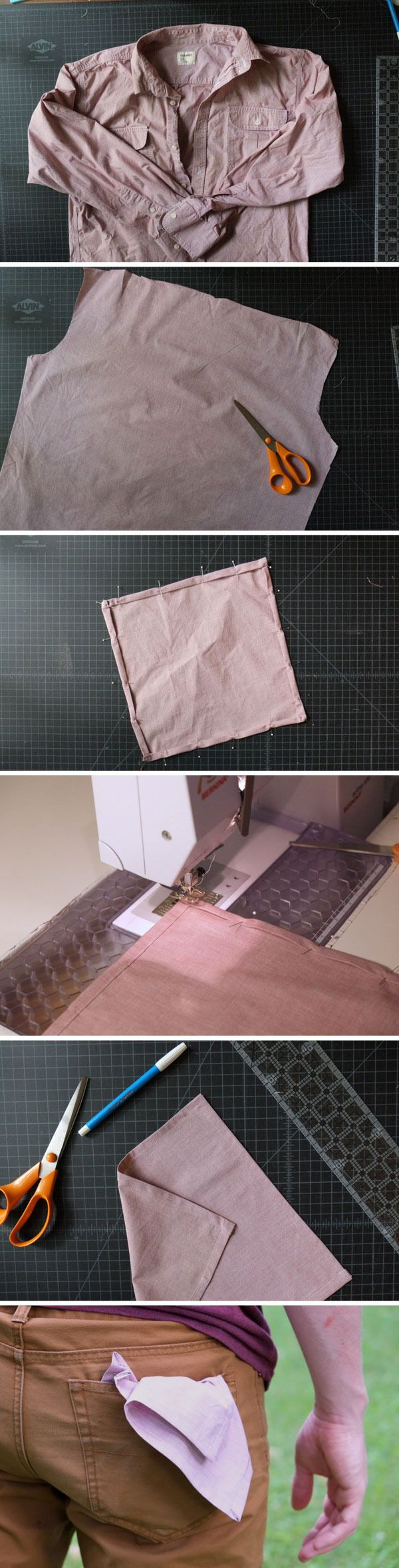 How to: Make a DIY Handkerchief or Pocket Square from an Old Shirt. Upcycling FTW!
